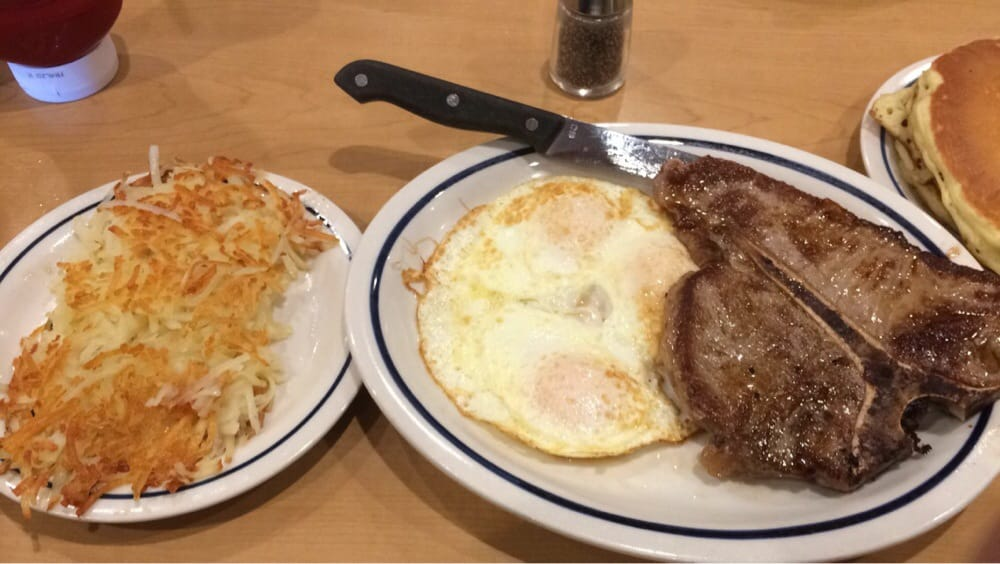 ... San Diego, CA, United States. t-bone steak/eggs/hash browns/pancakes