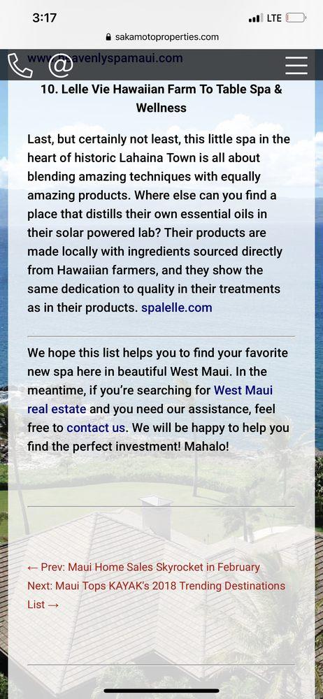 Kapalua Spa Lelle Vie Hawaiian Farm to Table Spa & Wellness