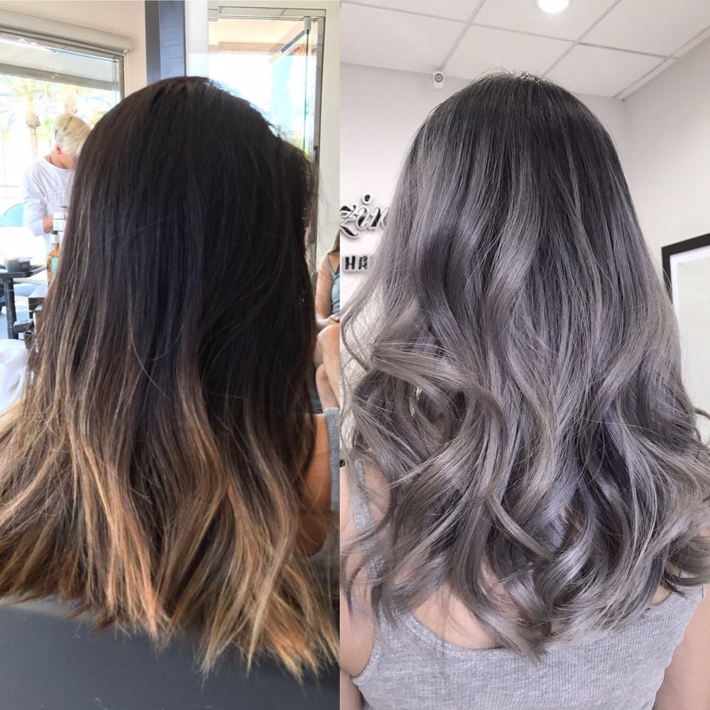 From A Faded Grown Out Balayage Ombr 233 To A Silver Grey