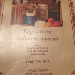 King S Pizza Italian Restaurant King George Va