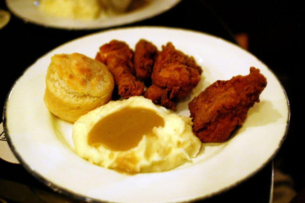 ... Fried Chicken with buttermilk biscuit, mashed potatoes and gravy ($18