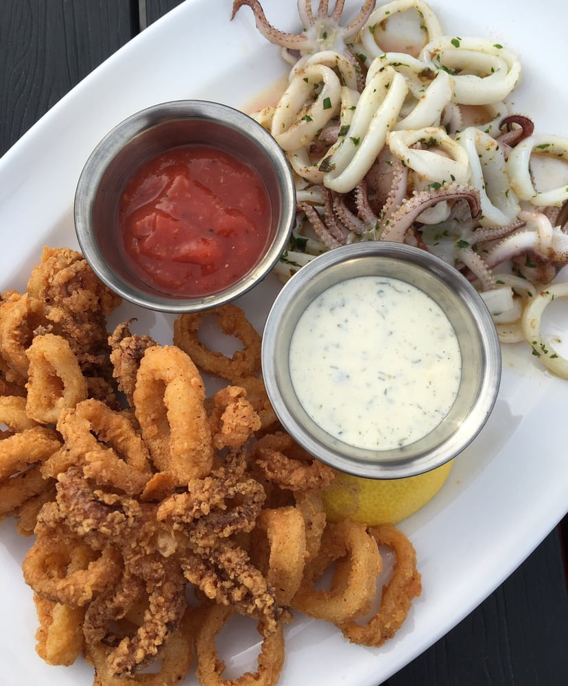Calamari 1/2 & 1/2: Fried + seared calamari, cocktail ...