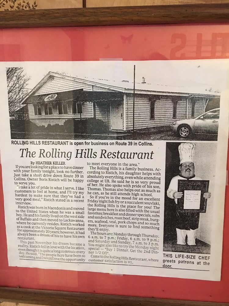 Rolling Hills Restaurant: 2990 Main, Collins, NY