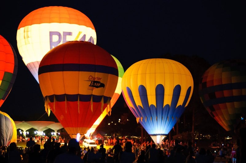 Balloon glow during the hot air balloon festival at - Callaway gardens festival of lights ...