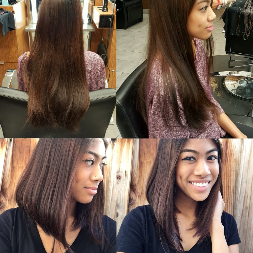 Before Long Thick Hair After Quot Lob Quot Long Bob A Line