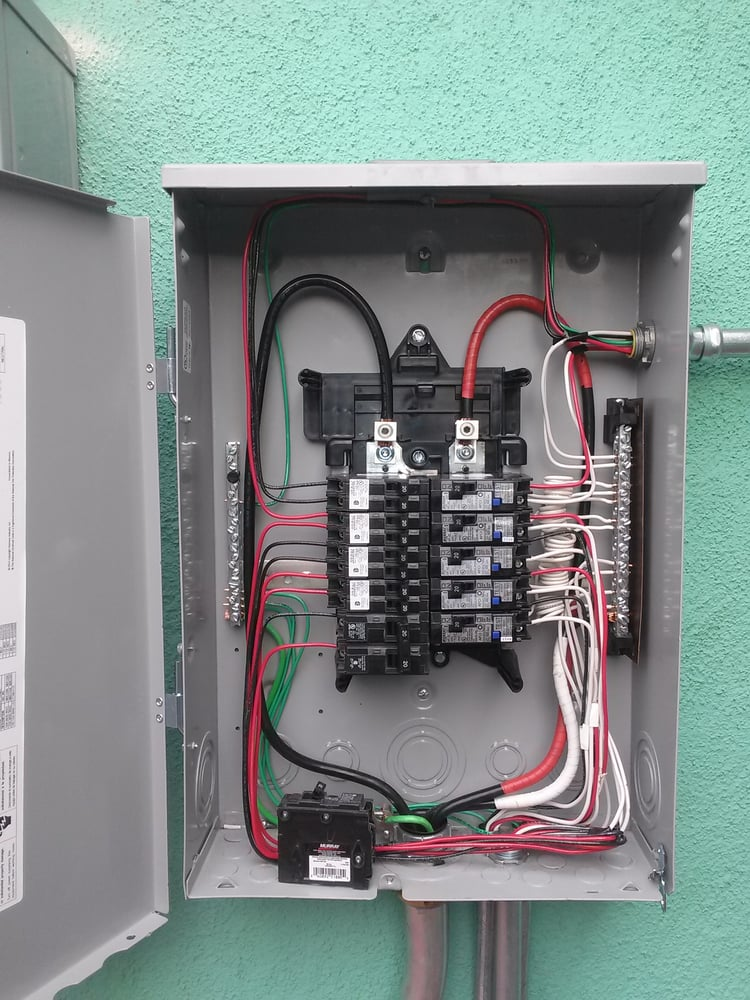 Electrical panel installation withe new circuits and brought up to ...