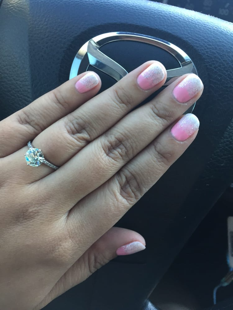 Pink And White Ombré With Glitter Gel Manicure Yelp