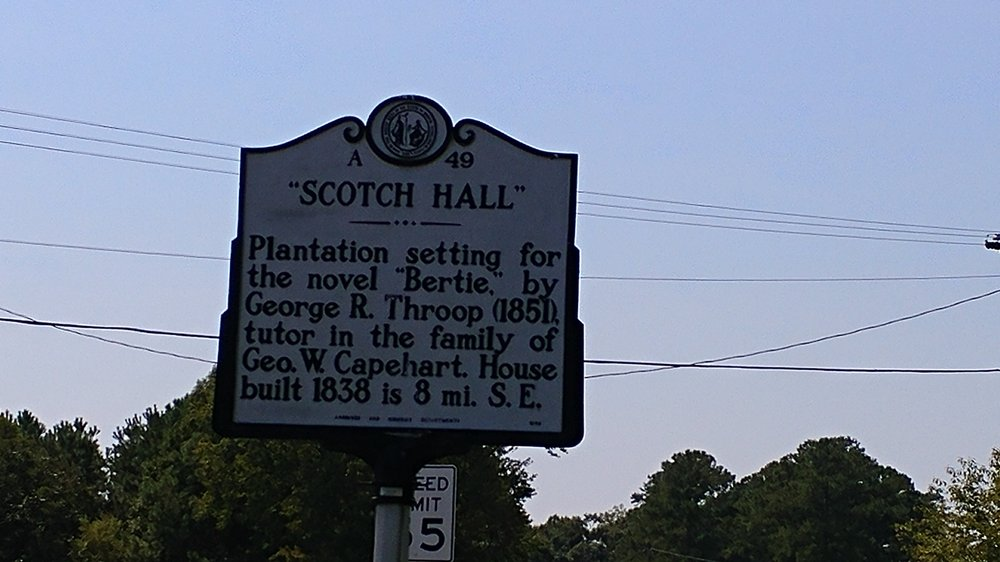Scotch Hall Historical Marker: US-17 & NC-45, Merry Hill, NC