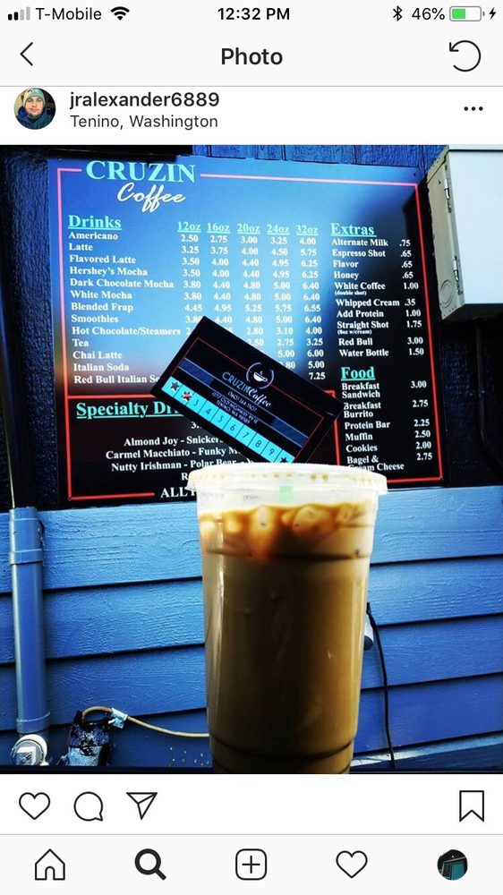 Cruzin Coffee: 12717 Old Highway 99 SE, Tenino, WA