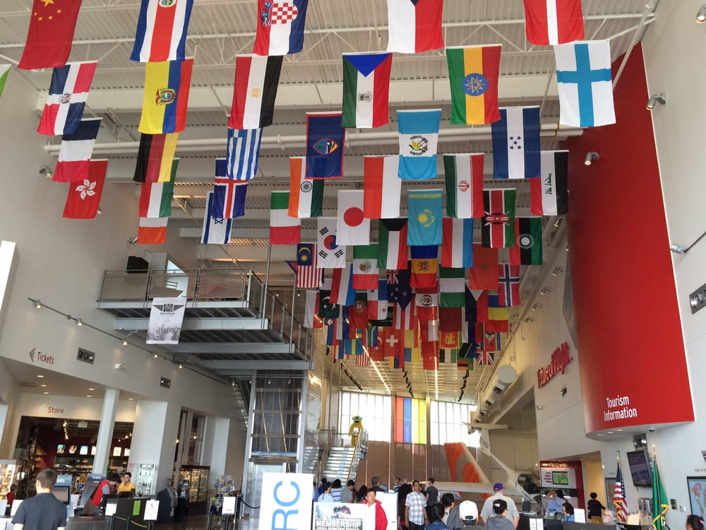Photo of Future of Flight Aviation Center & Boeing Tour - Mukilteo, WA, United States. All the national flags for Boeing aircraft