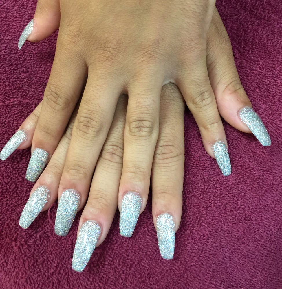 Coffin nails shape with glitter powder mixed by Ben - Yelp
