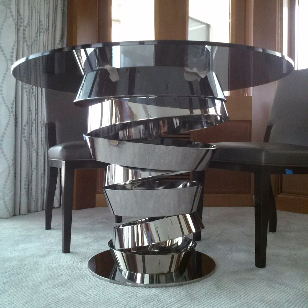 Designer Game Table Custom Furniture Stainless Steel Fabricator In Miami Manufacturing Metal