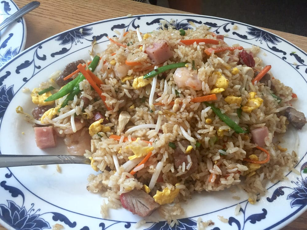 Combo Fried Rice With Some Spoonfuls Missing Bc My Dad Was Hungry Hehe So Tasty And The Meat