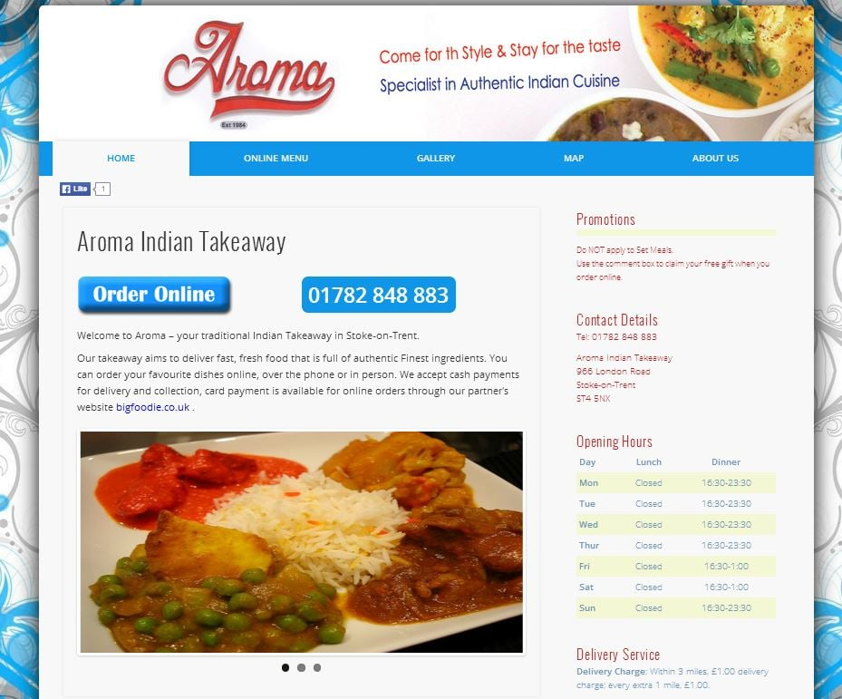 Aroma indian cuisine indian 966 london road stoke on for Aroma indian cuisine
