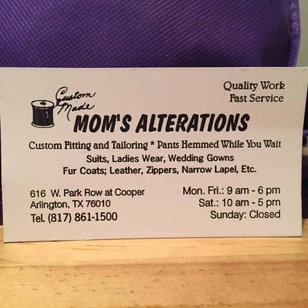 Mom\'s Alterations: business card. - Yelp