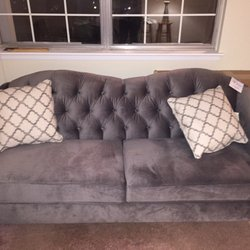 Photo Of White Furniture   Wyandotte, MI, United States. Grey Tufted Couch  From