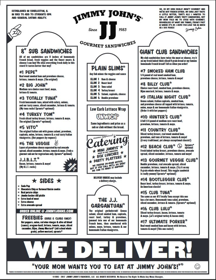 image relating to Jimmy Johns Printable Menu known as Jimmy Johns - 36 Opinions - Delis - 4870 Peachtree