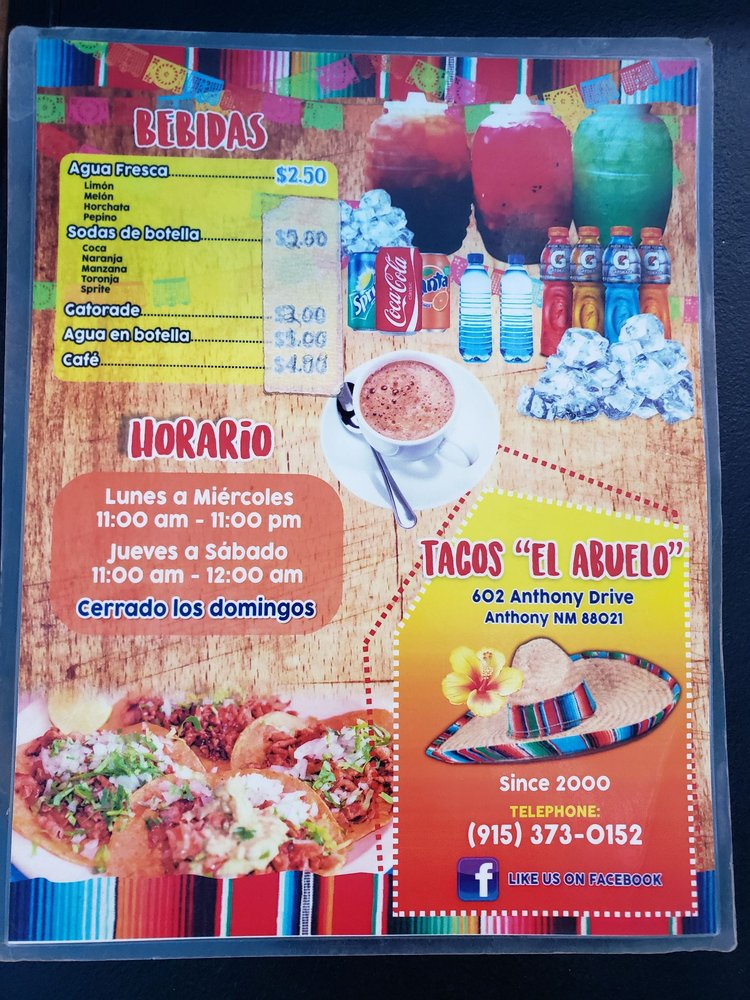 Tacos El Abuelo: 602 Anthony Dr, Anthony, NM