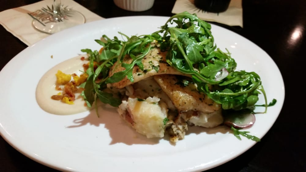Today 39 s special flounder with grits and sticks arugula for Fish and grits near me