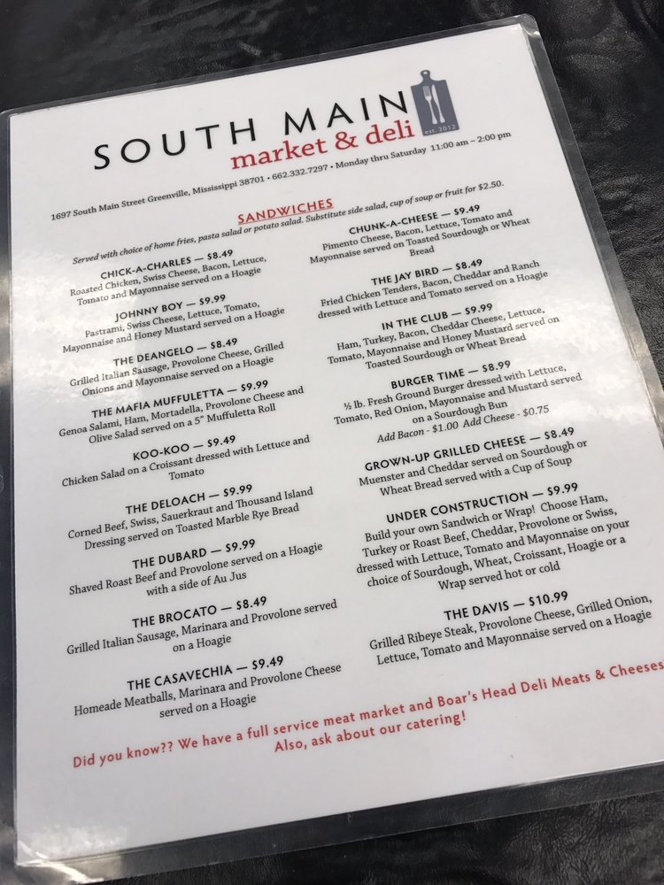 South Main Market & Deli: 1697 S Main St, Greenville, MS