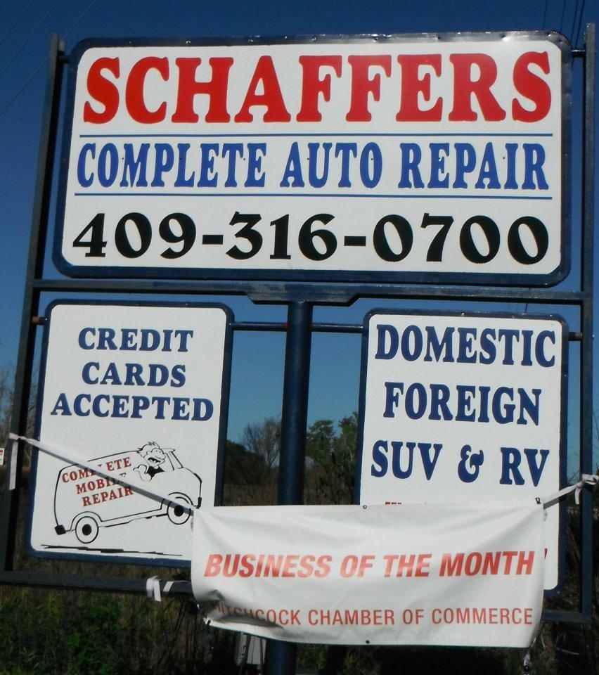 Schaffer's Auto Repair: 9345 Hwy 6, Hitchcock, TX