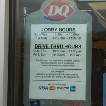Dairy Queen Hours of Operation Nearby Dairy Queen locations, hours of operation, phone numbers and maps Please find a list and map of nearby Dairy Queen locations as well as the associated Dairy Queen location hours of operation, address, phone number .