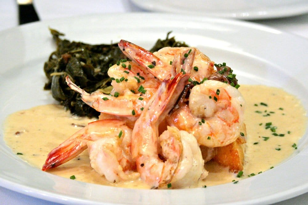... Shrimp with Country Ham Gravy and Cheddar Cheese Grits Cake - Yelp