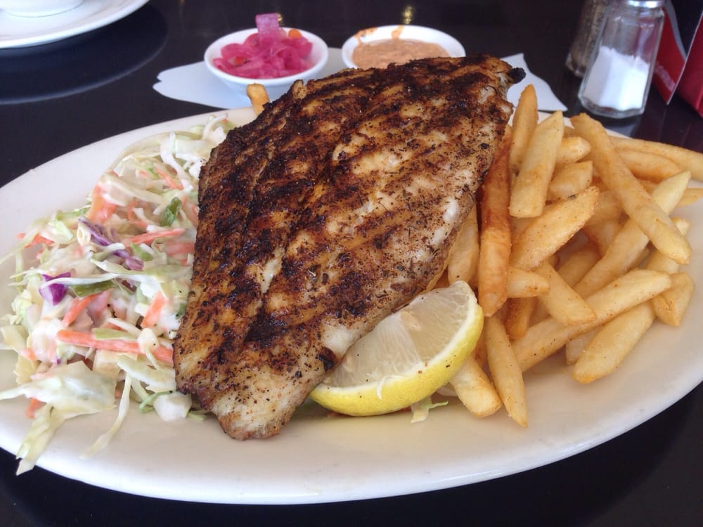 Catfish w dry cajun spice rub with fries and coleslaw yelp for Bluesalt fish grill