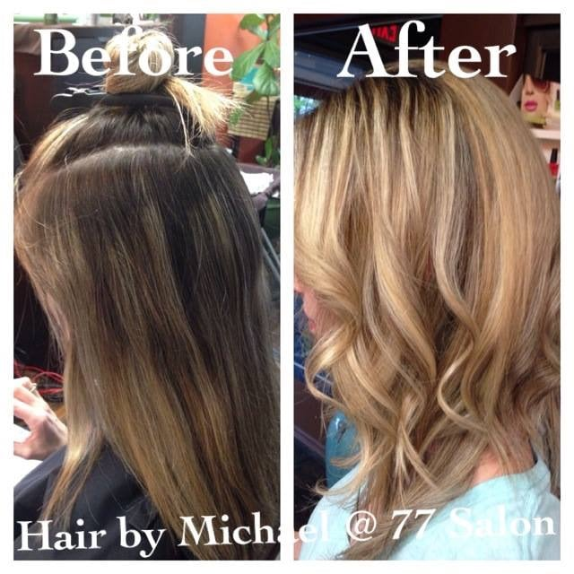 Before and after updated her color to something softer for 77 salon portland