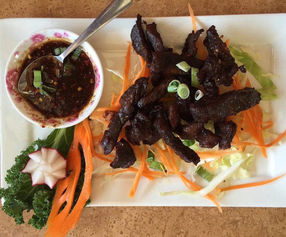 Thai beef jerky with spicy sauce yelp for Jasmine cuisine