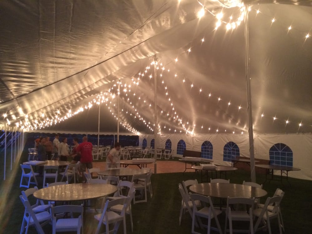 Photo of Midwest Tents u0026 Events - Cortland IL United States. Italian String & Italian String Lighting under a 40x100 Wedding Tent in Hawthorn ...