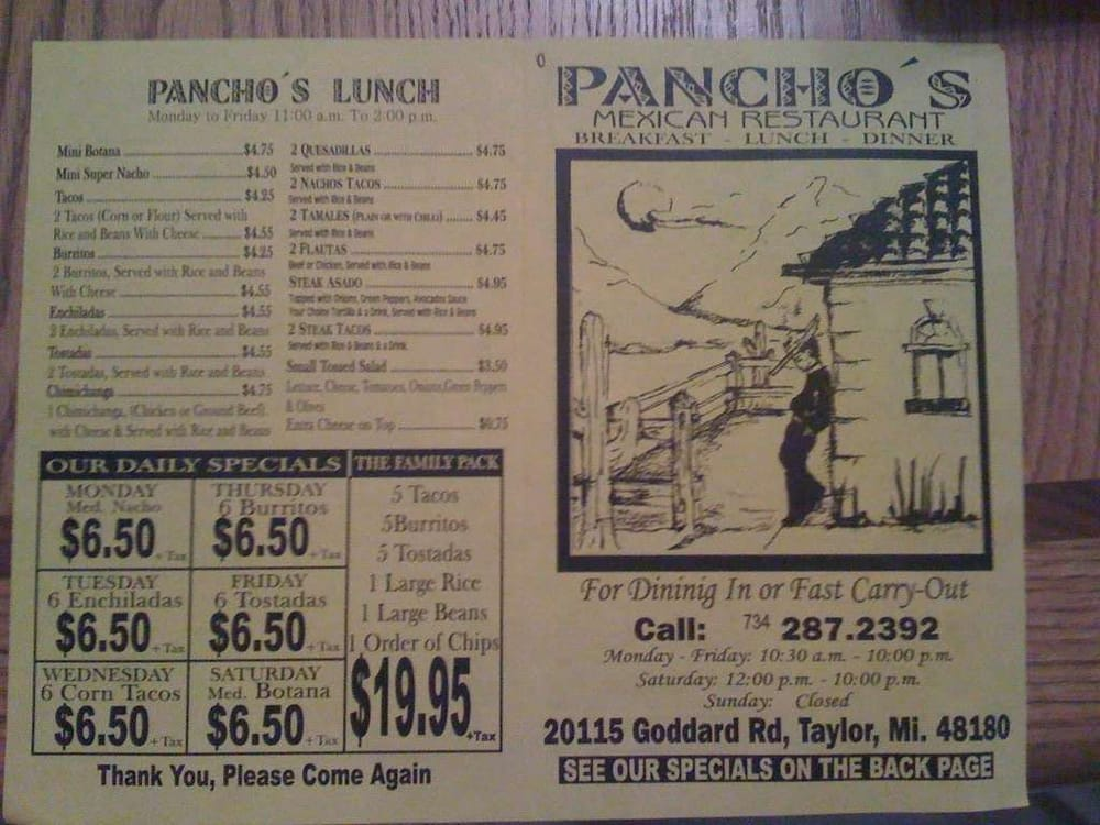 Pancho S Mexican Restaurant Lincoln Park Mi
