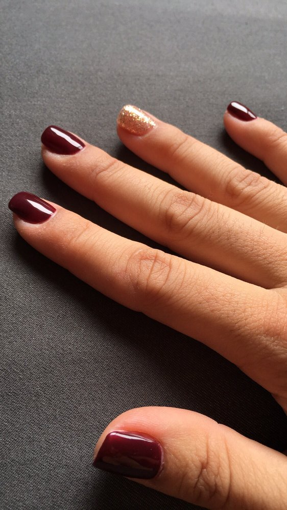 Burgundy and rose gold gel manicure by Kristine :) - Yelp