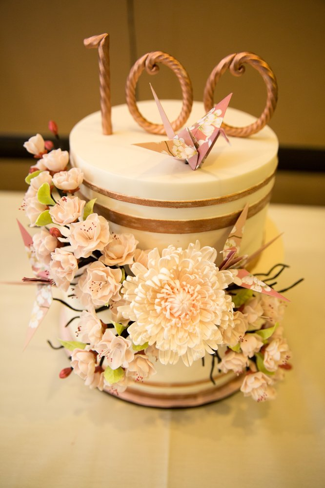 100th birthday cake with sugar chrysanthemum and cherry blossoms and ...