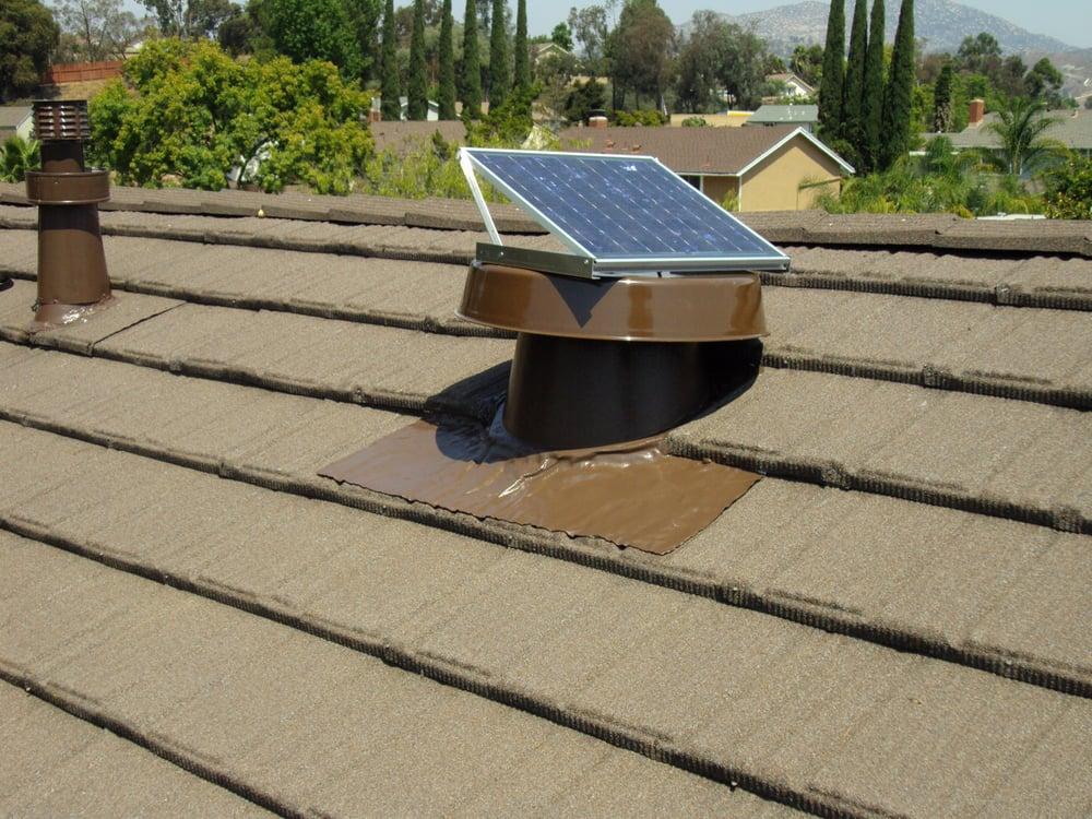 76 photos for All-Tech & 20 watt Natural light solar attic fan installed in metal tile roof ...