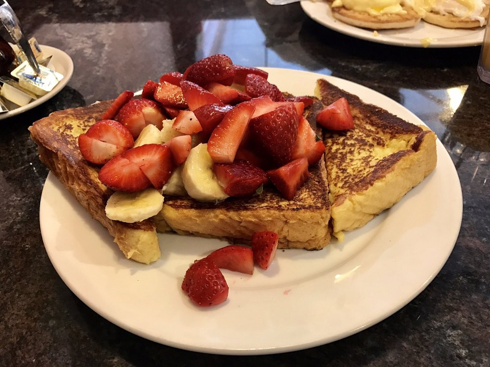 Challah French Toast with strawberries and bananas. - Yelp
