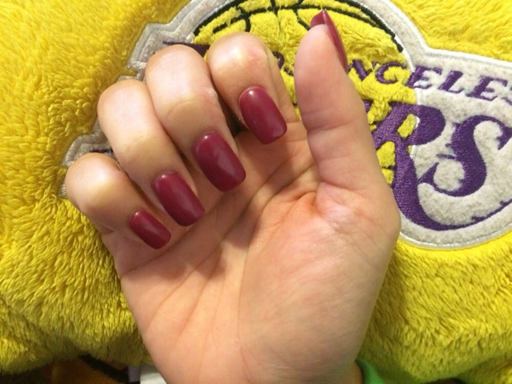Natural nails with acrylic powder with a matte burgundy (I don\'t ...