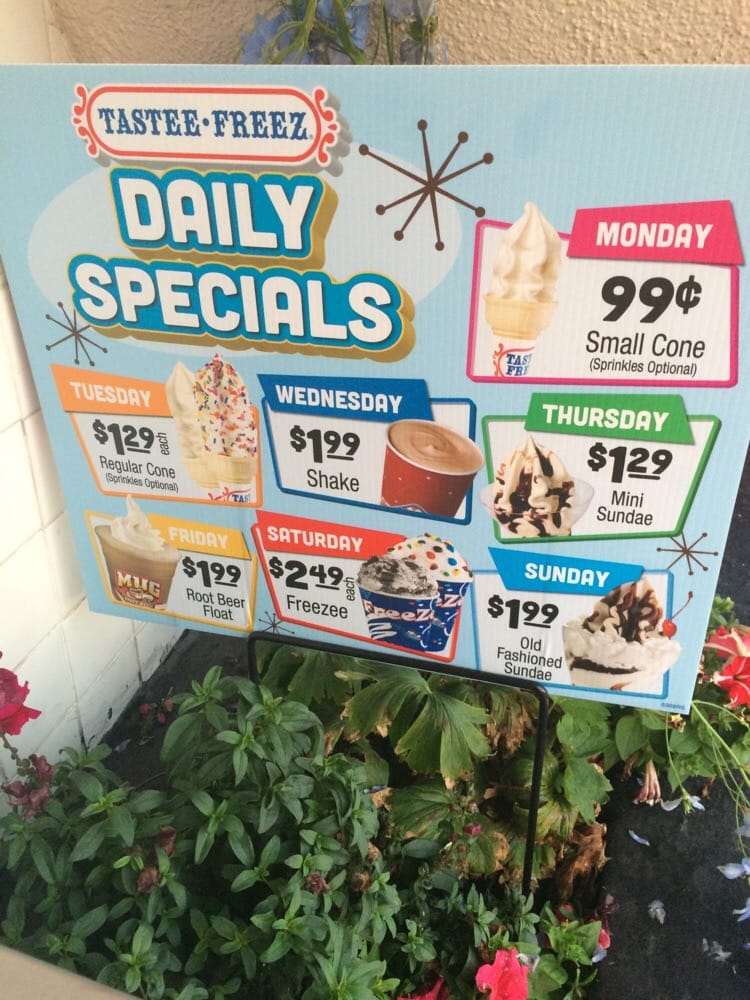 Daily Ice Cream Specials Yelp
