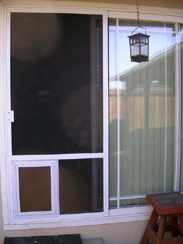 Extruded White Patio Screen Door with Dog Door added Yelp