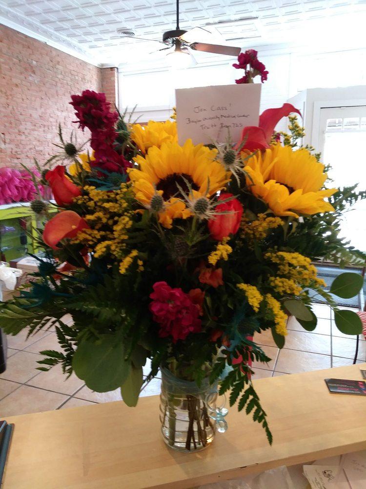 Mixed Bouquet of Sunflowers, Solidago Filler Flowers, Fuchsia Stock ...