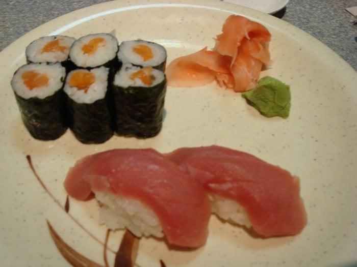 salmon rolls with 2 tuna nigiri 6 yelp. Black Bedroom Furniture Sets. Home Design Ideas