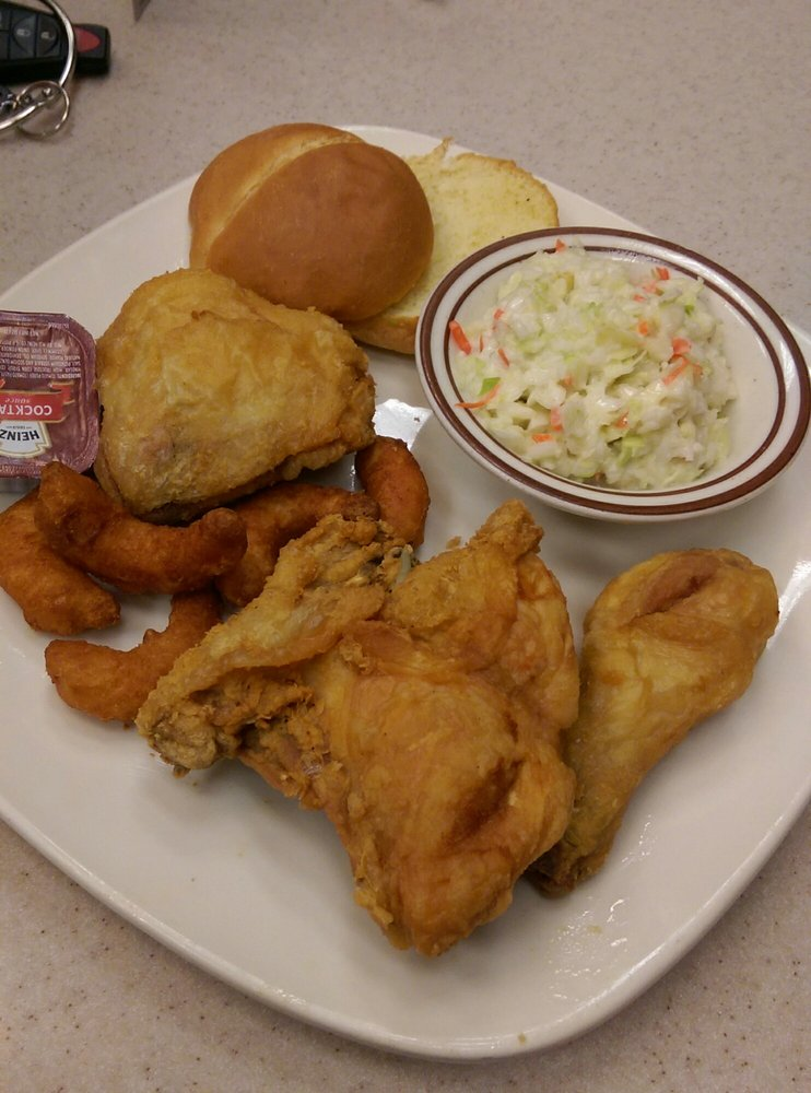 Broasted Chicken Broasted Shrimp Coleslaw And A Roll