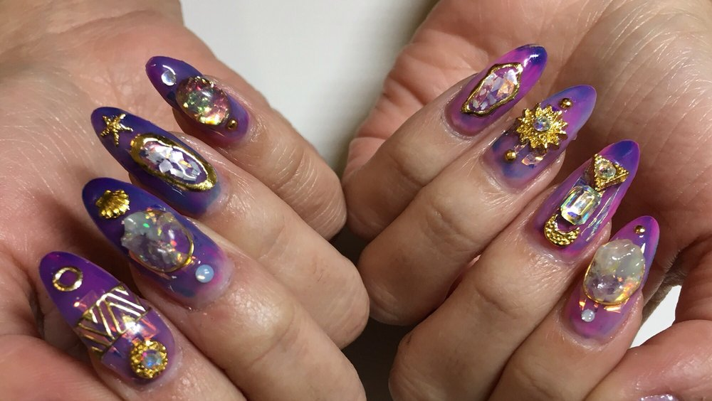 Japanese gel manicure with nail charms - Yelp