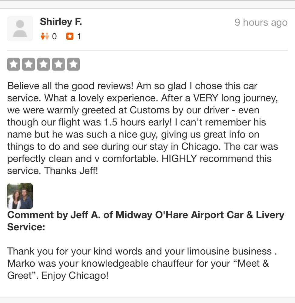 Another happy client check out 189 other reviews we have earned photo of midway ohare airport car livery service yorkville il m4hsunfo
