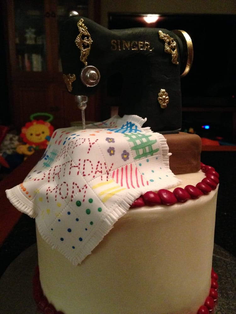 My Birthday Cake With Perfect Replica Of Singer Sewing Machine And