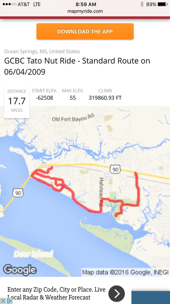 Ocean Springs Ms Zip Code Map.The Taternut Ride Route Ocean Springs Also Marks Bicycle Path