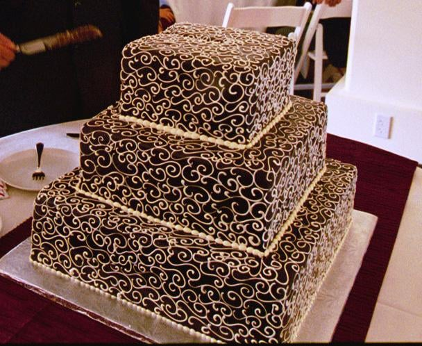 our wedding cake from Schubert\'s. Chocolate cake! - Yelp