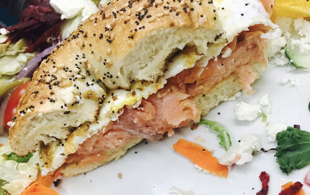 Smoked Salmon With A Fried Egg On An Everything Bagel