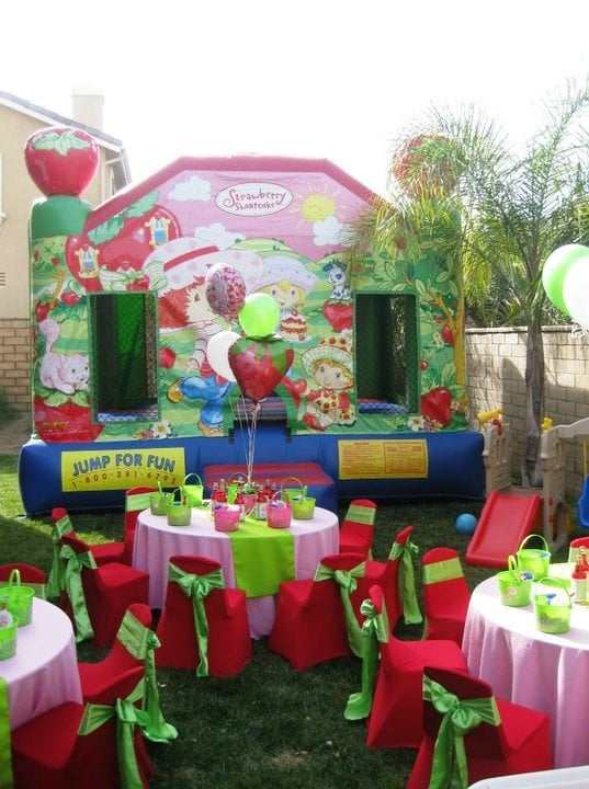 Strawberry Short Cake Theme Birthday Party Table Set Up