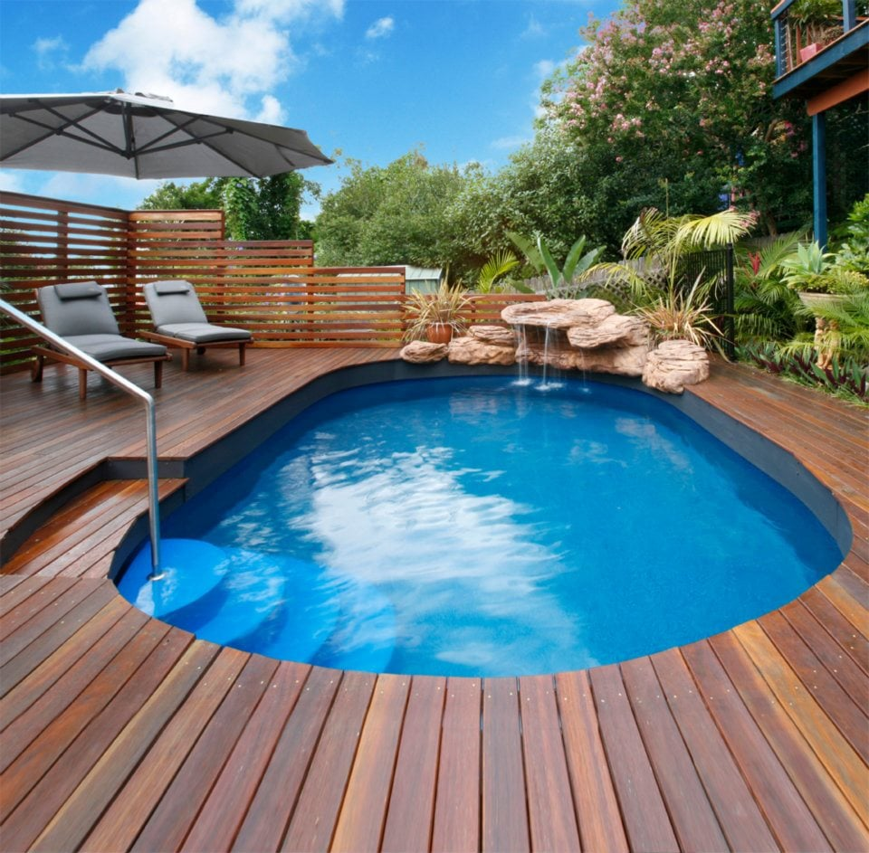 Modular pool with decking yelp for Manufactured pool house